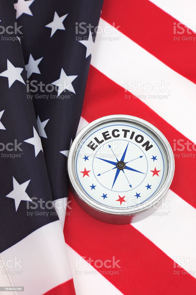 USA flag and election compass royalty-free stock photo