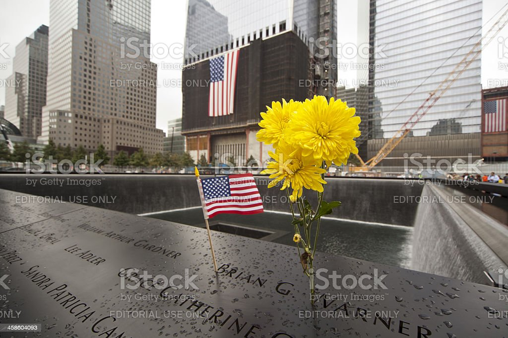 USA Flag And Flower Ground Zero 911 Memorial stock photo