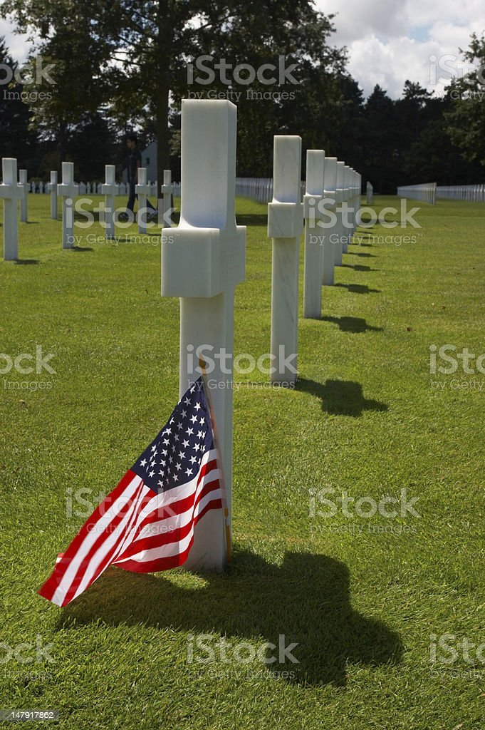 Flag and grave royalty-free stock photo