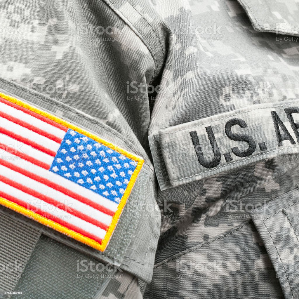 USA flag and patch on military uniform - close up stock photo