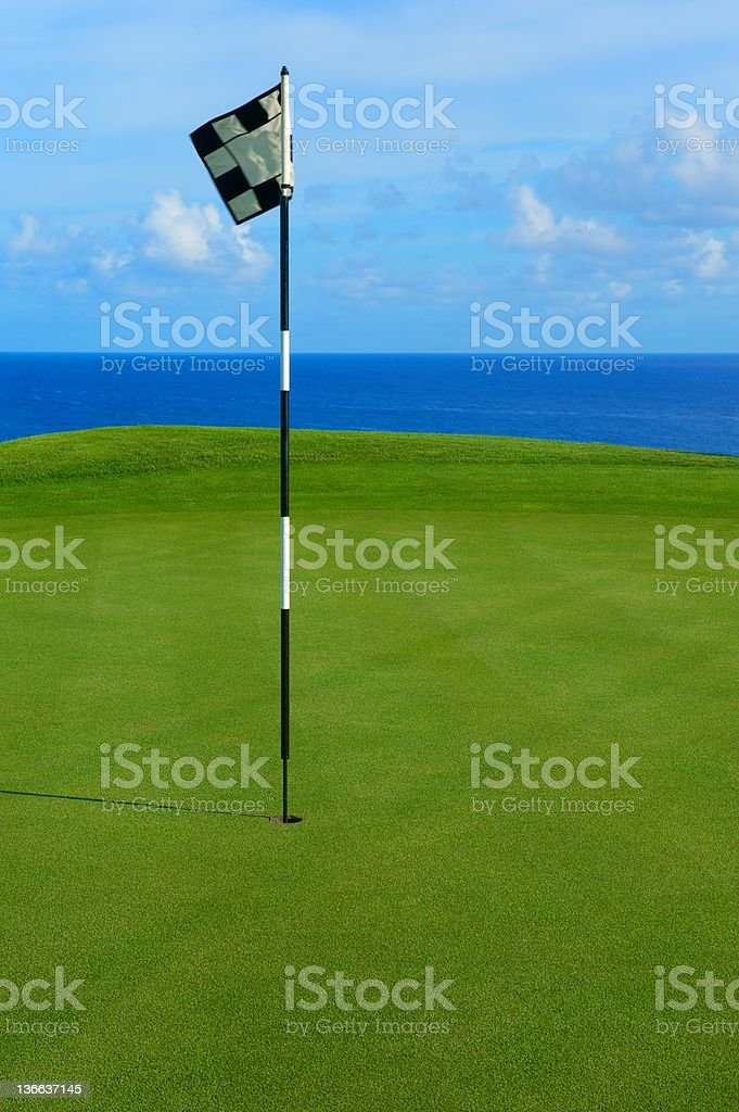 Flag and Pin on Hole Overlooking Pacific Ocean royalty-free stock photo