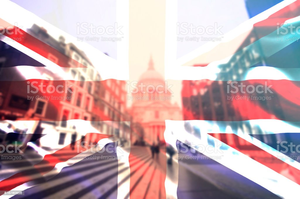 UK flag  and St. Paul Catherdral stock photo
