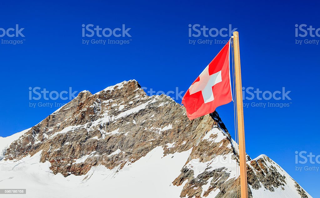 flag and summit stock photo