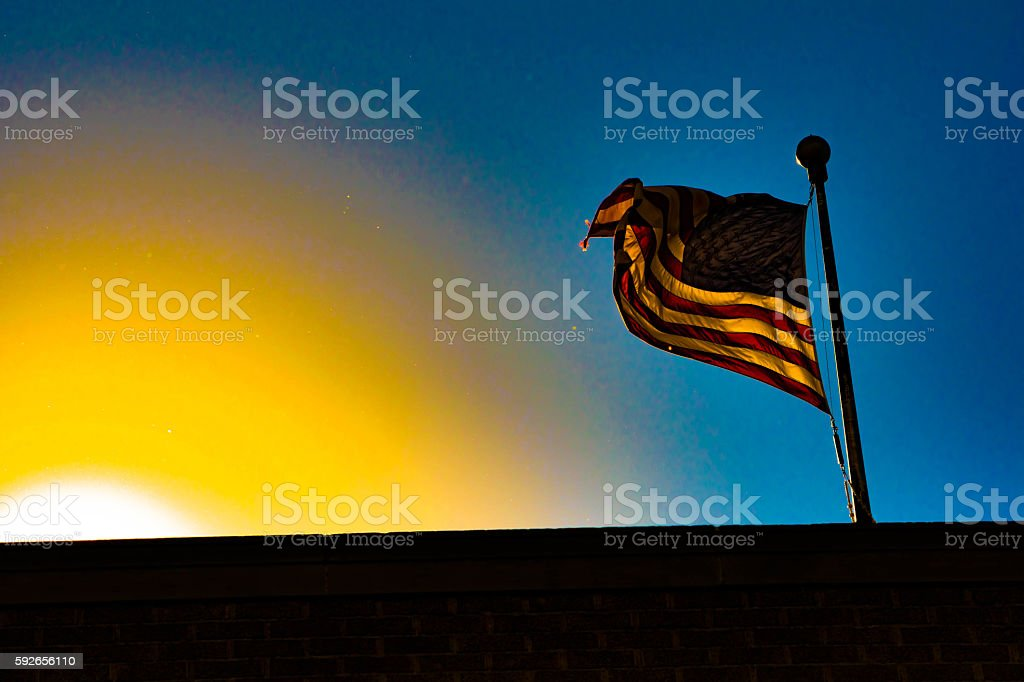 flag and sunset royalty-free stock photo