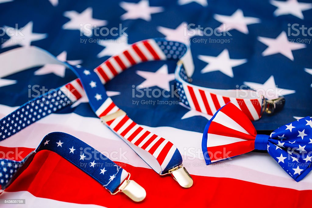 USA flag and suspenders stock photo