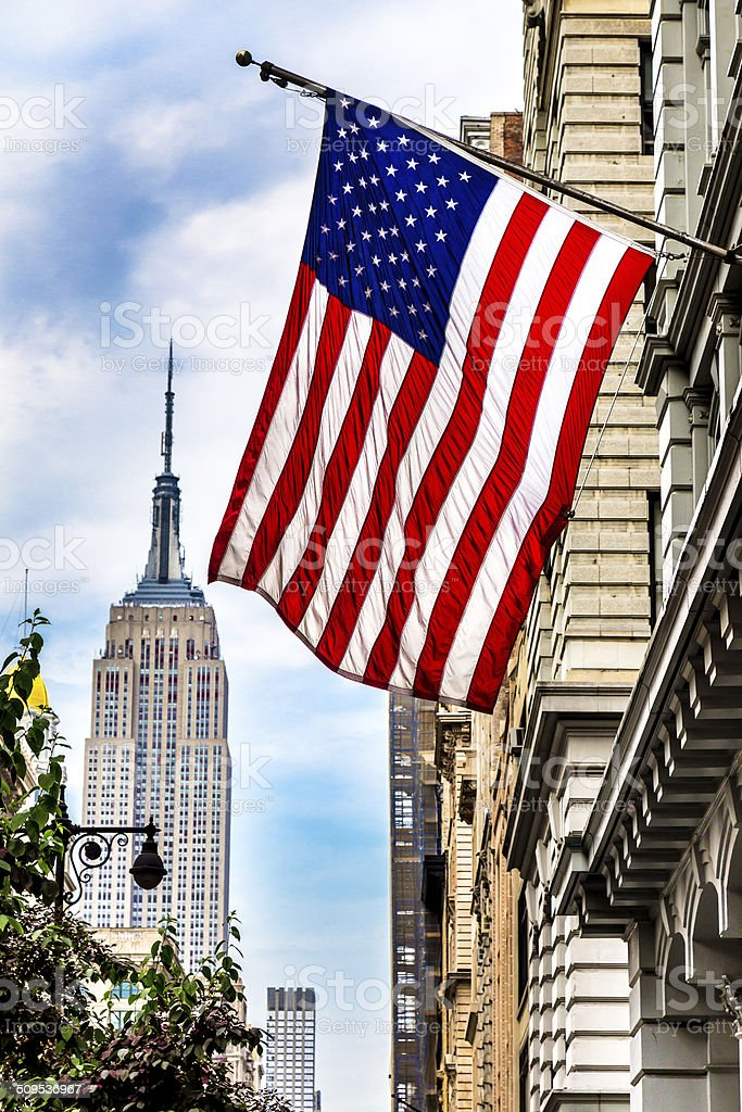 USA Flag and the Empire state Building stock photo