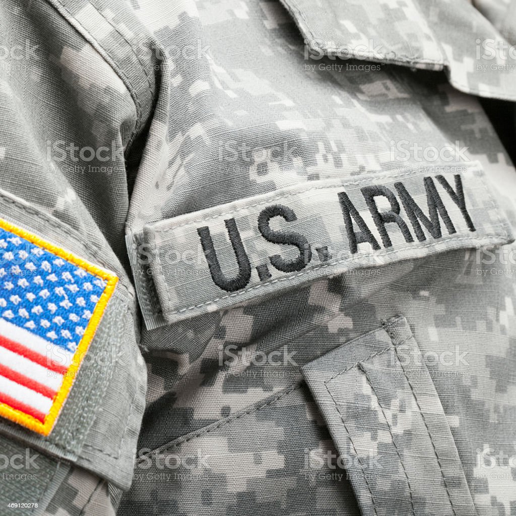 USA flag and U.S. Army patch on solder's uniform stock photo