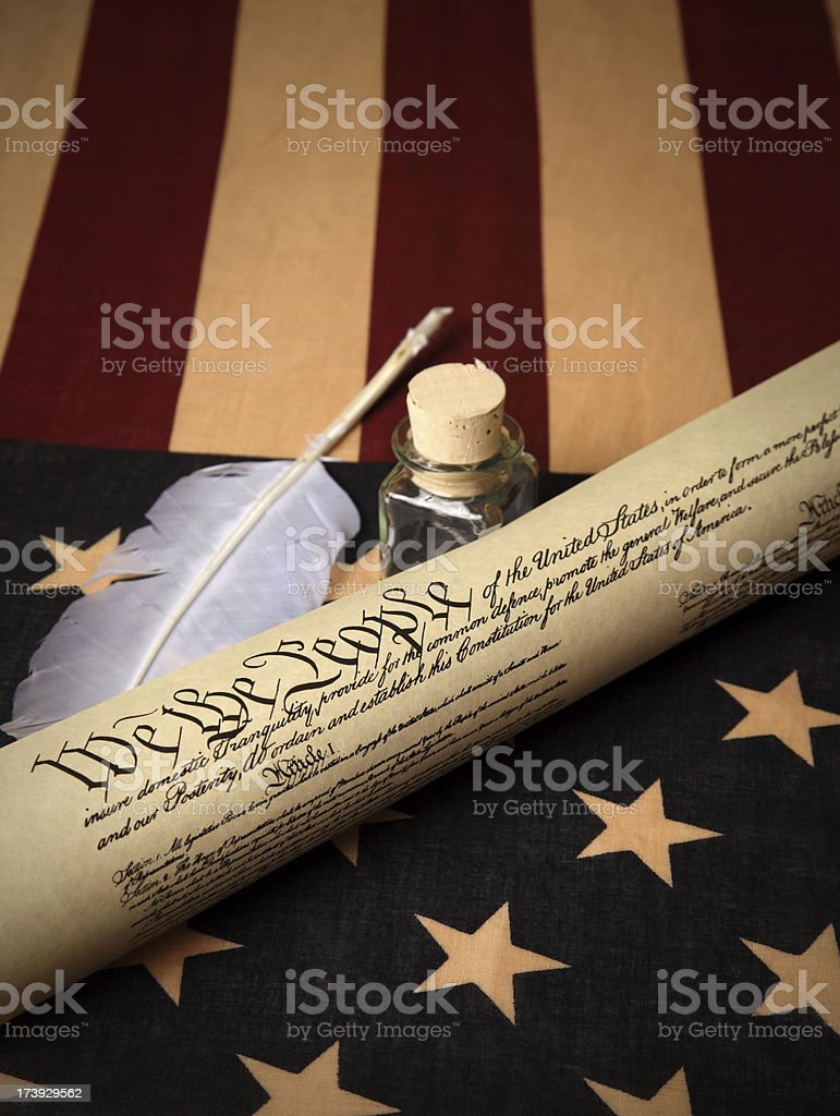 USA flag and US Constitution royalty-free stock photo