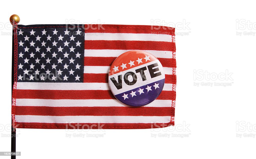 USA Flag and Voting Pin royalty-free stock photo