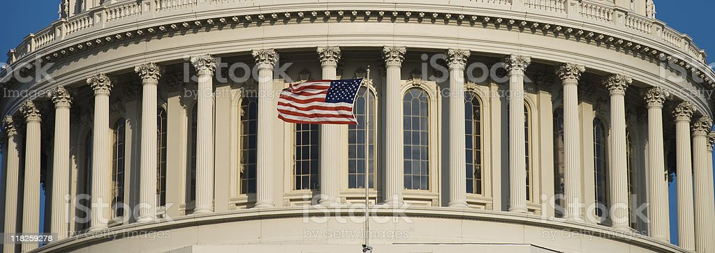 US Flag at Capitol stock photo