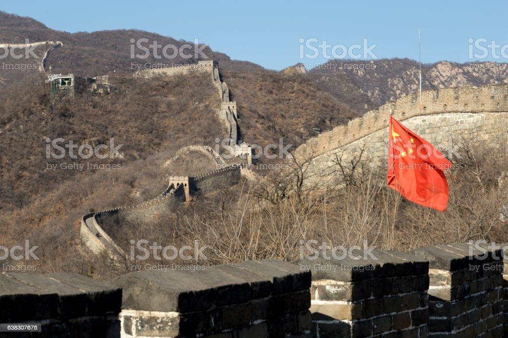 Flag at Great Wall of China stock photo