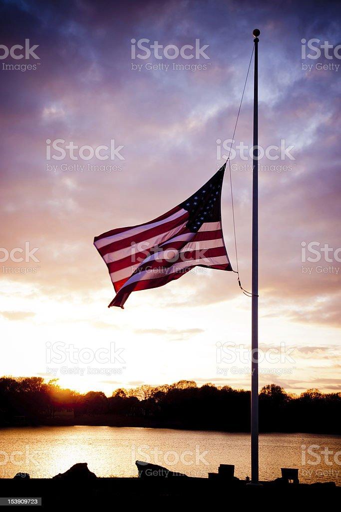 Flag at Half Mast stock photo