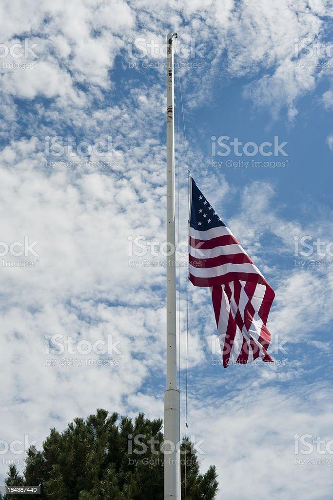 US Flag at Half Mast   (Vert)  (XXXL) stock photo