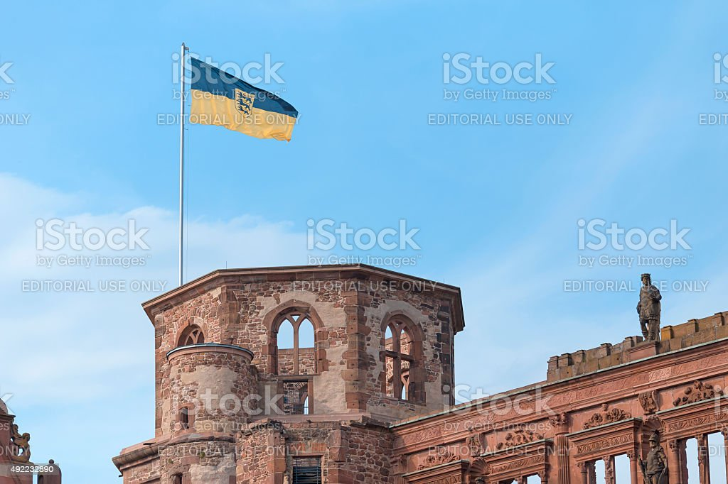Flag at Heidelberg Castle stock photo