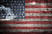 USA Flag background on wooden texture