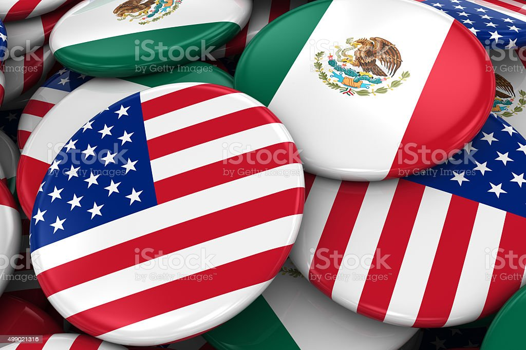 Flag Badges of America and Mexico in Pile stock photo