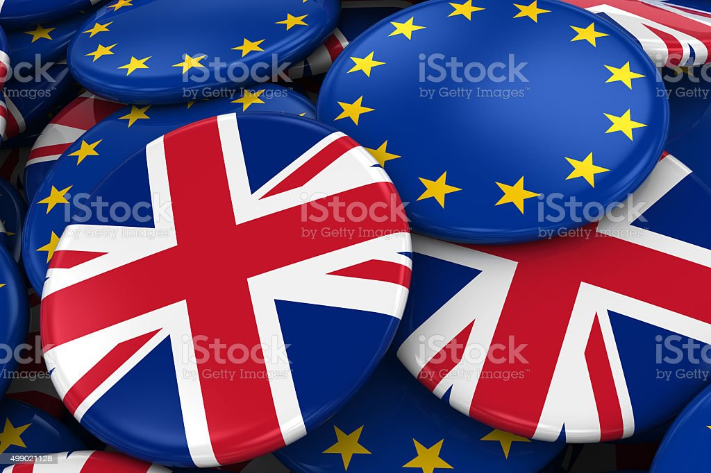 Flag Badges of Britain and Europe in Pile stock photo