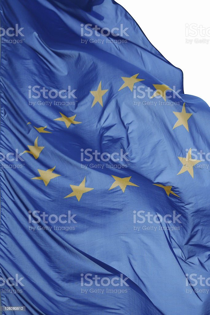 EU Flag / Banner flapping in wind royalty-free stock photo