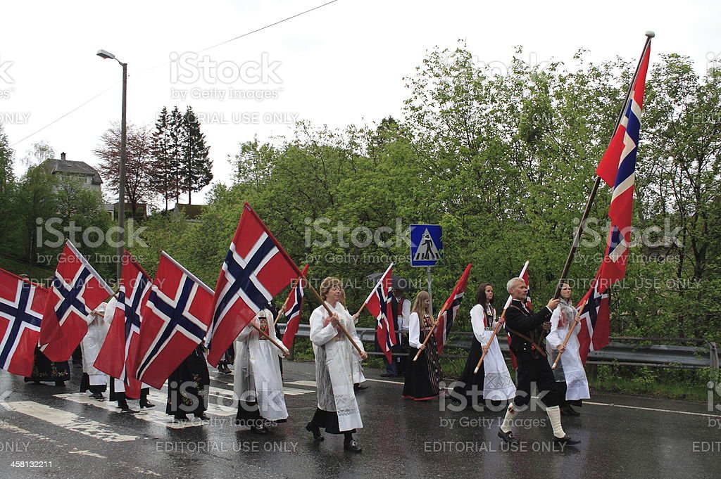 Flag bearers in a Norwegian National Day parade stock photo