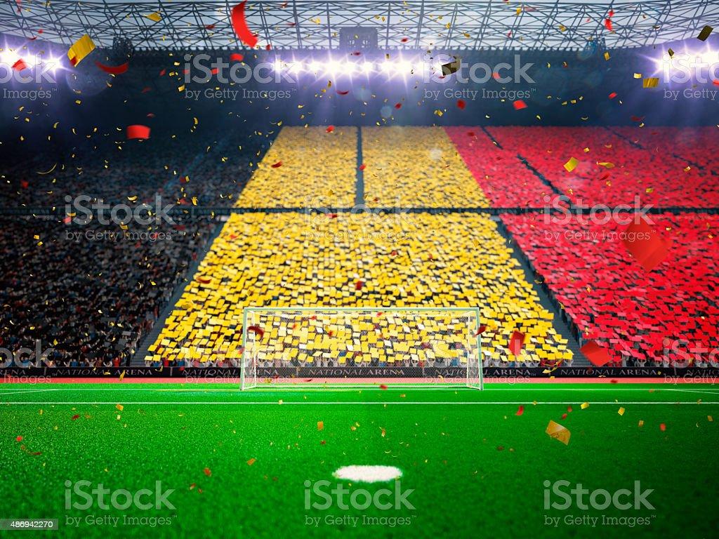 Flag Belgium of fans. Evening stadium arena Blue stock photo