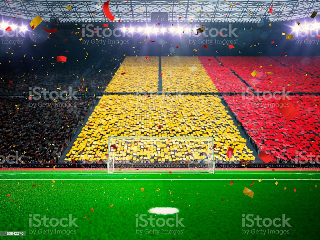 Flag Belgium of fans. Evening stadium arena Blue stock photo