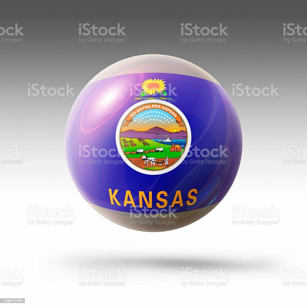 Flag Bubble of Kansas stock photo