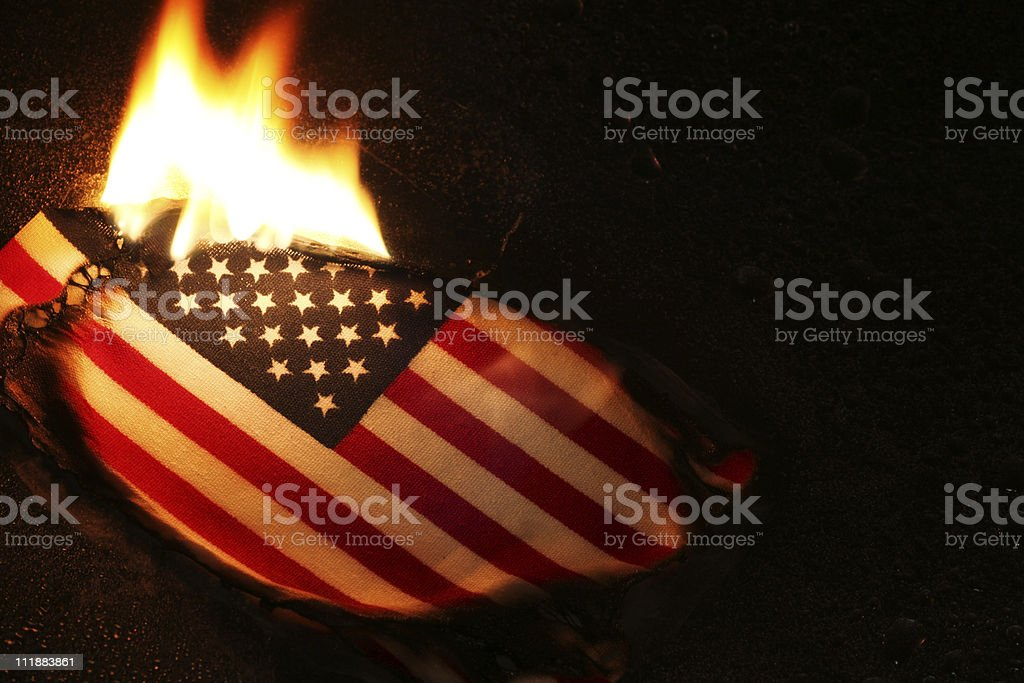 Flag Burning stock photo