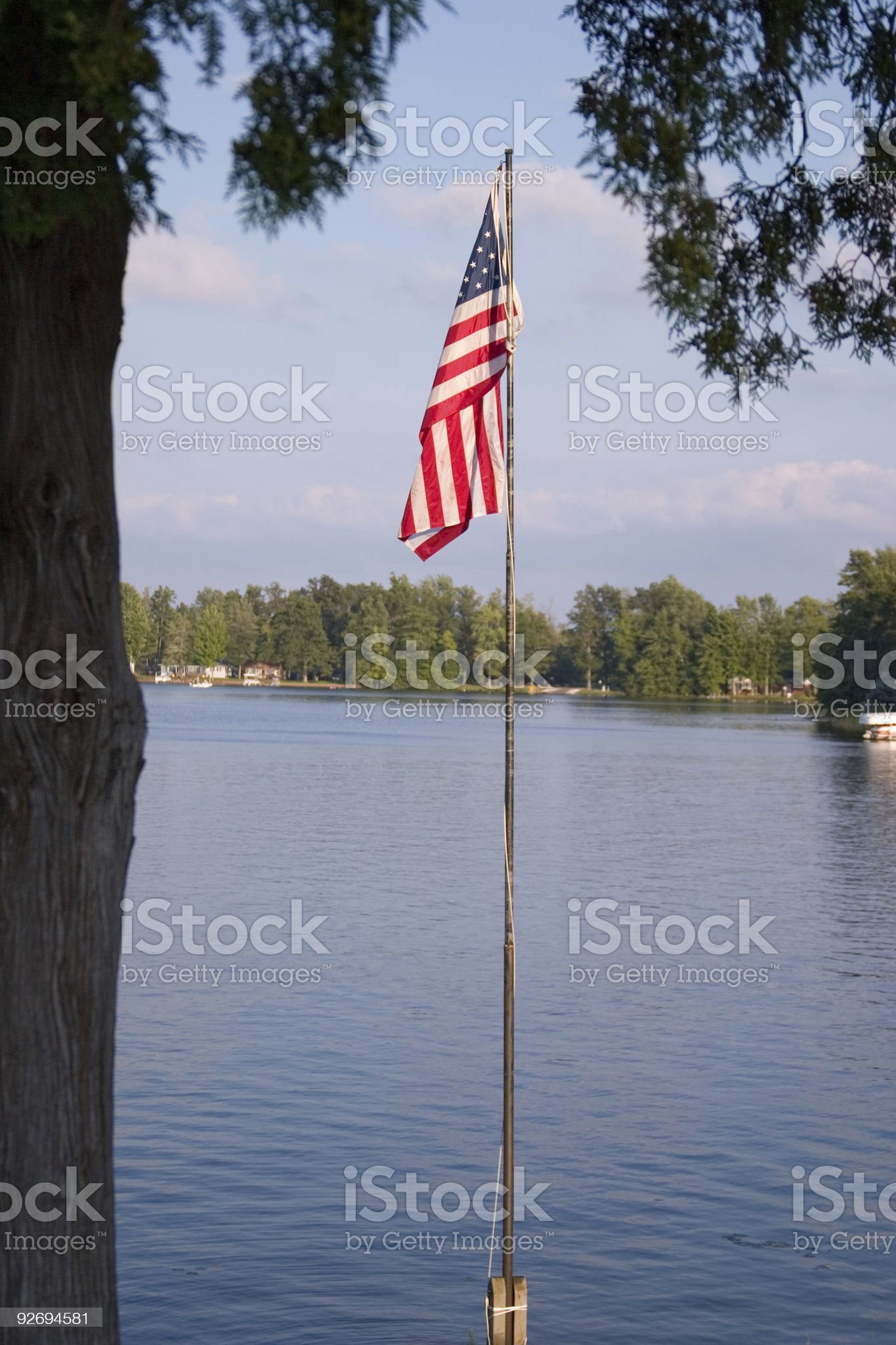 Flag by the Lake royalty-free stock photo