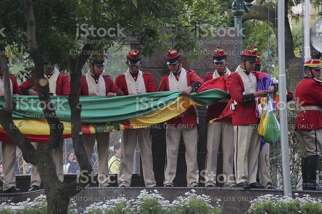 Flag ceremony in Bolivia stock photo