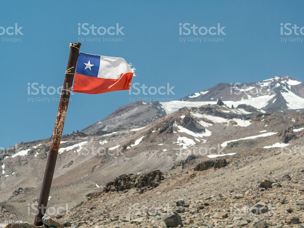 Flag Chile in the Mountain royalty-free stock photo