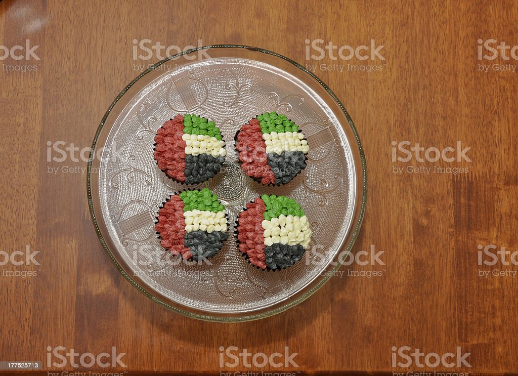 UAE flag cup cakes royalty-free stock photo