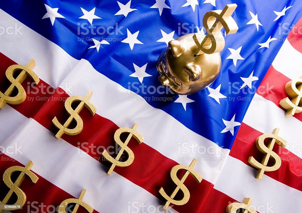 U.S.A flag & Dollar stock photo