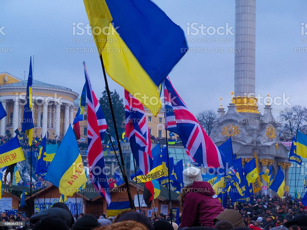 flag England on continuous mass protest in the Ukrainian capital. stock photo