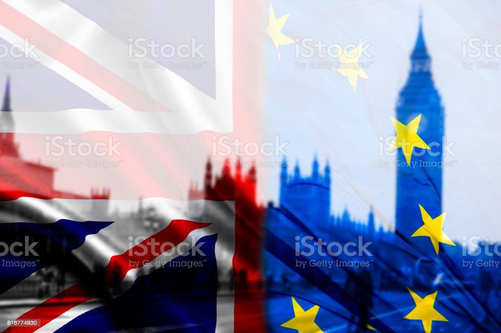 UK flag, EU flag and Big Ben stock photo
