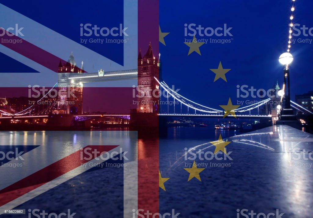 UK flag, EU flag and Tower Bridge stock photo