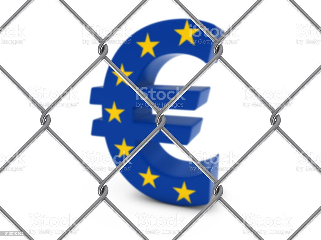 EU Flag Euro Symbol Behind Chain Link Fence stock photo