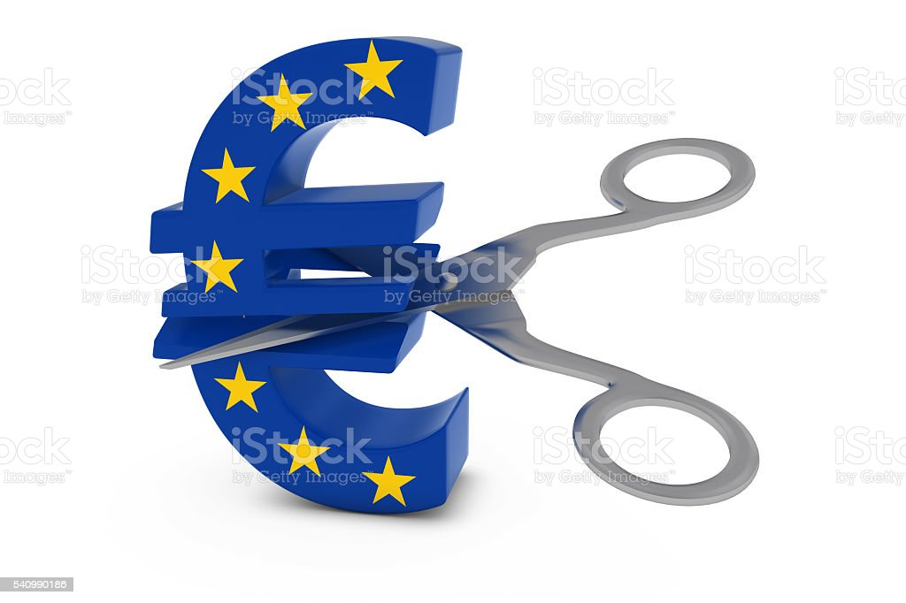 EU Flag Euro Symbol Cut in Half with Scissors stock photo