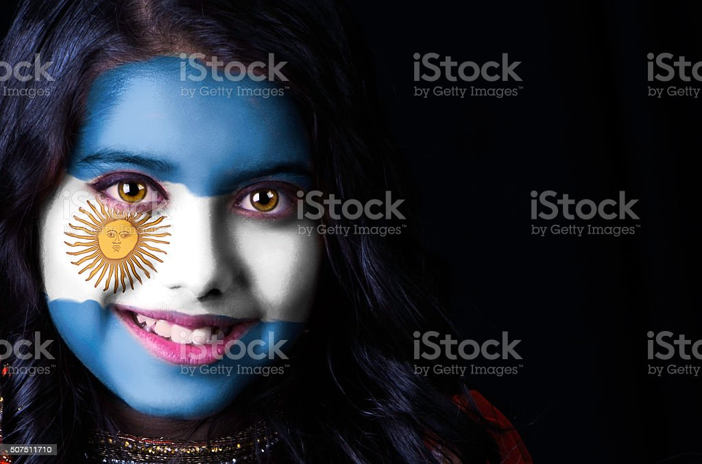 Flag face Argentina stock photo