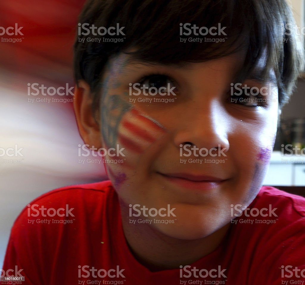Flag Face Boy (waiting for model release) royalty-free stock photo