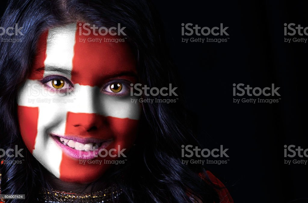 Flag face Denmark stock photo