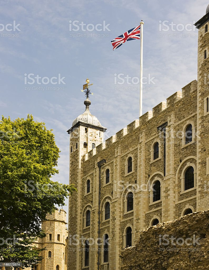 Flag flying on the Tower of London. stock photo