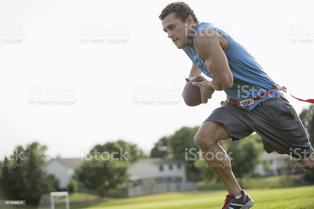 Flag Football Player Run royalty-free stock photo