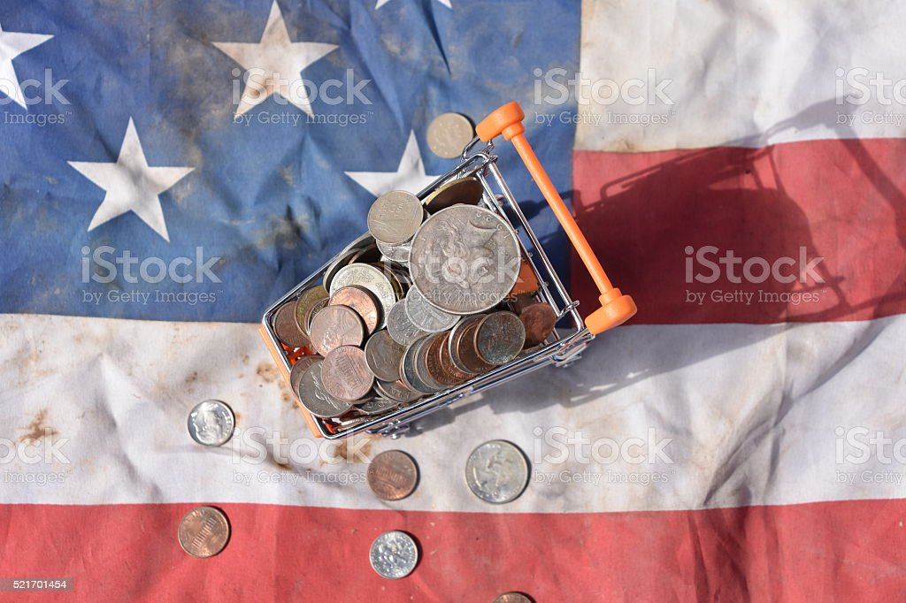 USA Flag for Fourth of July Consumer Shopping stock photo