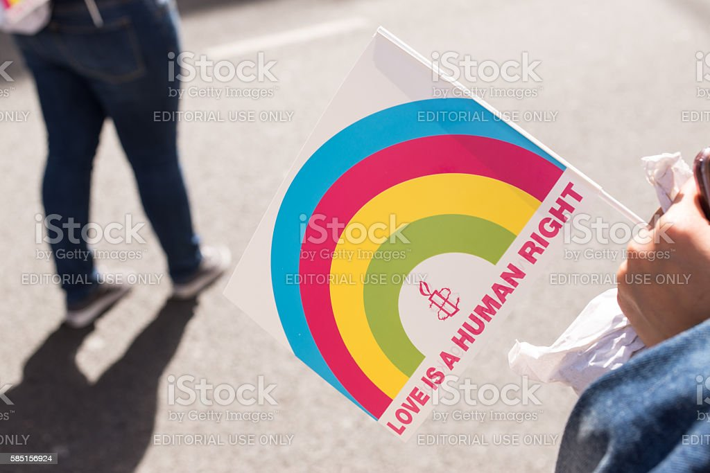 Flag from Amnesty international Love is a human right stock photo
