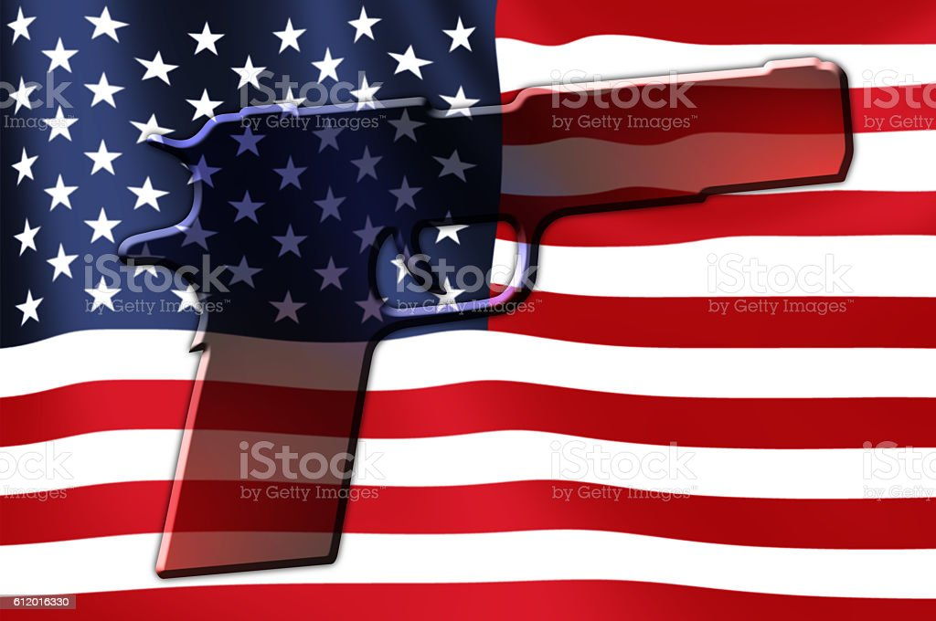 USA Flag Hand Gun stock photo