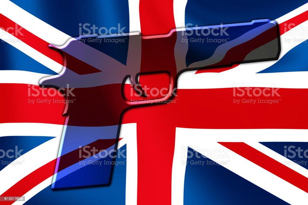UK Flag Hand Gun stock photo