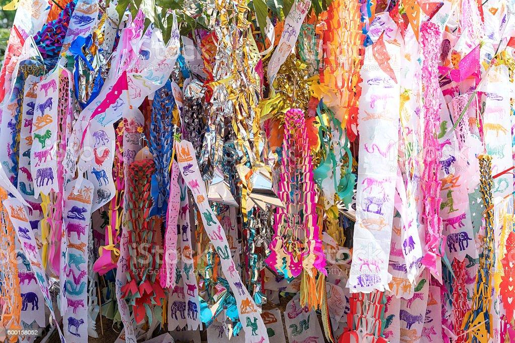 Flag hang Songkran Festival. stock photo