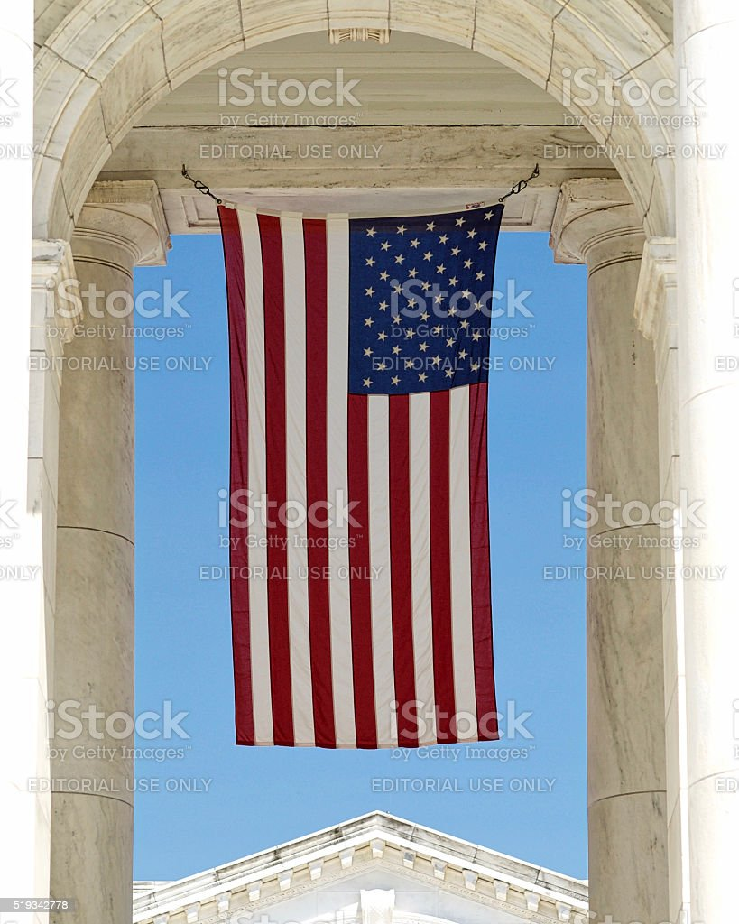 U.S. Flag hanging at Arlington National Cemetery stock photo
