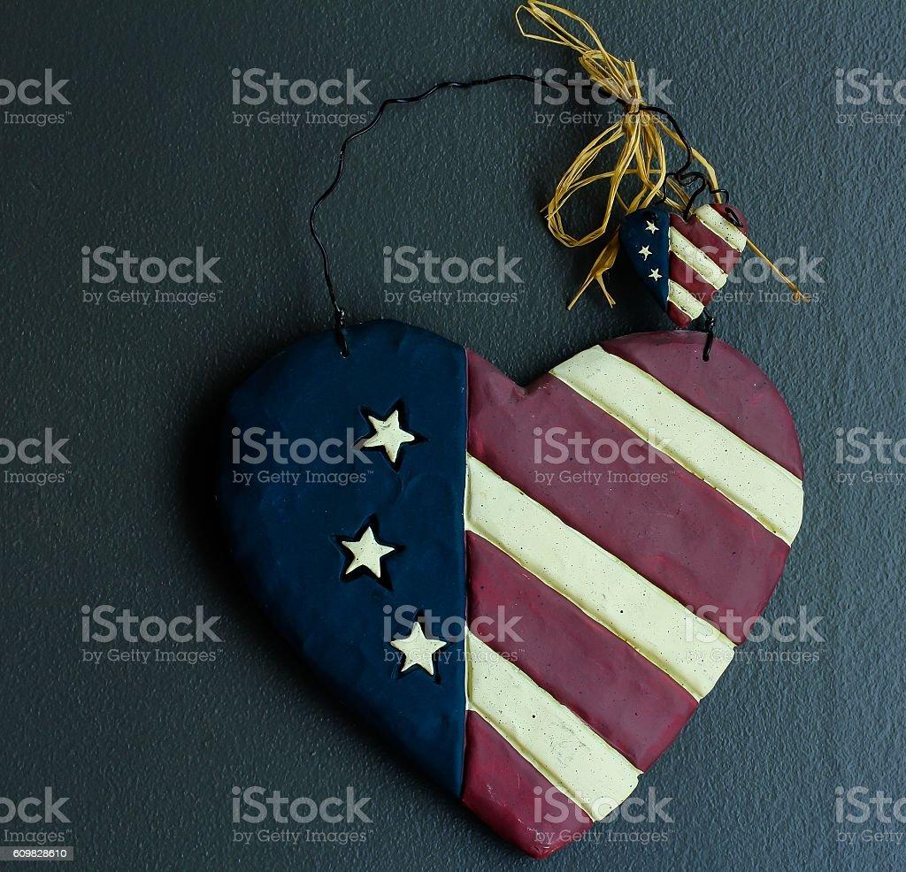 USA flag heart on dark background stock photo