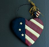 USA flag heart on dark background